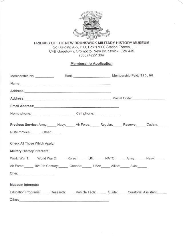 Friends of the NB Military History Museum Membership Application
