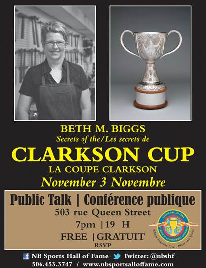 "You are invited to the public talk ""Secrets of the Clarkson Cup"" by Beth M. Biggs on November 3"